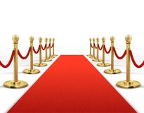 Red carpet for celebrity with gold rope barrier. Success, prestige and hollywood event vector concept. Illustration of carpet red color for entrance vip Stock Photos