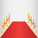 Red carpet, ceremonial. Vip event, head of state visit with gold barriers. Vector illustration Royalty Free Stock Images