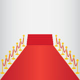 Red carpet, ceremonial. Vip event, head of state visit with gold barriers. Vector illustration Stock Image