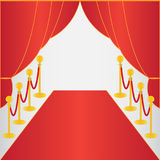 Red carpet, ceremonial. Vip event, head of state visit with gold barriers. Vector illustration Royalty Free Stock Image