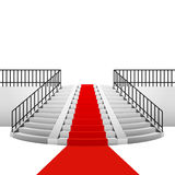 Red carpet on circular staircase on white background Royalty Free Stock Photo
