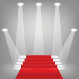 Red carpet. Colorful illustration  with  red carpet on grey background Royalty Free Stock Photo