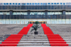 Red carpet covered the steps Stock Images