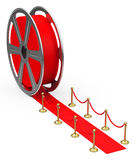 The red carpet. 3d generated picture of a film reel - red carpet Royalty Free Stock Photography