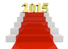 2015 ON RED CARPET - 3D. Golden years and red carpet Stock Photo