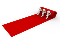 Red carpet. 3d people - man, person rolling out the red carpet Royalty Free Stock Photo