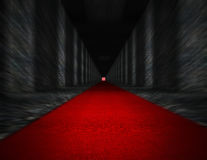 Red carpet and dark hall Royalty Free Stock Photo