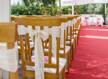 Red carpet and decorations at a wedding ceremony. Royalty Free Stock Photography