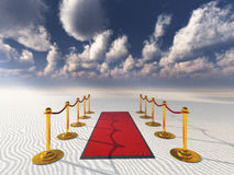 Red carpet in desert sands Stock Images