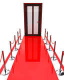 Red carpet and door. At registration information related to events and abstraction Royalty Free Stock Images