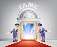 Red carpet door to Fame Stock Photos