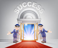 Red carpet door to Success. Success Door concept of a doormen holding open a red carpet entrance to success with light streaming through it Stock Images