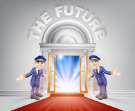 Red carpet door to your future. Future Door concept of a doormen holding open a red carpet entrance to the future with light streaming through it Royalty Free Stock Photography