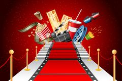 Red Carpet Entertainment. Illustration of film stripe laying as red carpet with entertainment object Royalty Free Stock Image