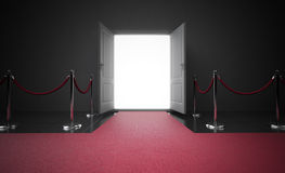 Red carpet entrance. Red carpet leading to the entrance Royalty Free Stock Photo