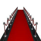 Red carpet entrance. 3d render red carpet entrance isolated on white background Royalty Free Stock Image