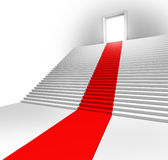 Red Carpet Entrance. On a stairway leading to a doorway showing the royal treatment and first class service of a business opportunity as a clear pathway to Stock Photos