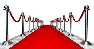 Red carpet entrance. 3D entrance with a red carpet and silver poles Royalty Free Stock Photo