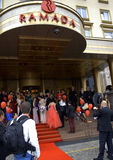 Red carpet entrance hotel glamour Royalty Free Stock Photo