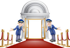 Red carpet entrance. An illustration of a red carpet entrance with velvet ropes and two doormen welcoming the viewer in Royalty Free Stock Photos
