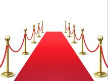 Red carpet. Event celebrity carpets with rope barrier. Vip interior. Hollywood academy movie premiere vector stock illustration