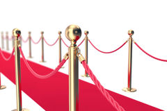 Red Carpet fence pole with ropes. Depth of field effect. 3d illustration Stock Photo