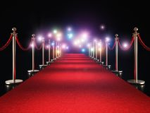Red carpet and flash. Classic red carpet and flash flare 3d rendering image royalty free illustration