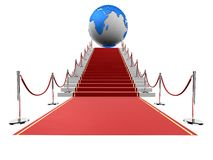 Red carpet with globe Royalty Free Stock Photography