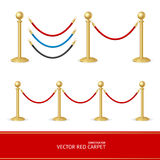 Red Carpet Gold Barrier Constructor. Vector Stock Photo