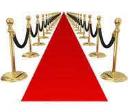 Red Carpet Gold Stanchions Exclusive VIP Party Event Invitation Stock Photos