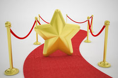 Red carpet and gold star. 3d high quality render Stock Images