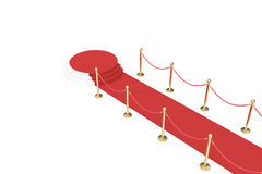 Red carpet with golden barrier and ropes. Stairs in the end. 3d illustration Stock Images
