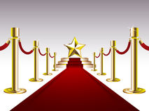Red Carpet with Golden Star Royalty Free Stock Photography