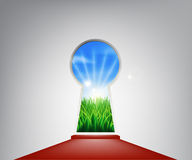 Red carpet idyllic landscape keyhole door royalty free illustration
