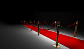 Red carpet isolated on black. 3d render Royalty Free Stock Photography