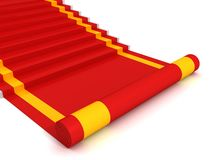 Red carpet ladder steps to success on white. Background Stock Photo