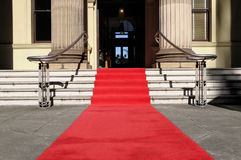 Red carpet, celebrity hotel entrance, copy space Stock Photo