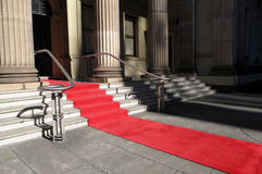 Red carpet, staircase, celebrity hotel or theater entrance Royalty Free Stock Photos
