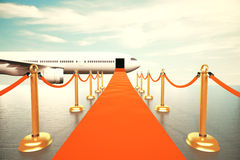 Red carpet leading to the first class of plain concept stock illustration