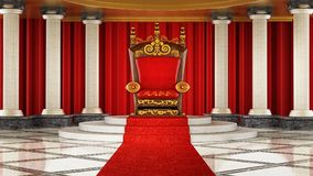 Red carpet leading to the luxurious throne. 3D illustration.  Royalty Free Stock Photography