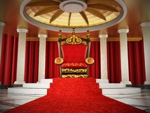 Red carpet leading to the luxurious throne. 3D illustration Stock Images