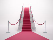 Red carpet leading up the stairs Stock Photography