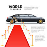 Red Carpet Limousine Colorful Picture Stock Image
