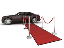 Red carpet Limousine Illustration. Illustration of a VIP red carpet leading with waiting limousine. Isolated on white. Please see my portfolio for other views Royalty Free Stock Image