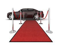Red carpet limousine illustration. Illustration of a VIP red carpet leading with waiting limousine. Isolated on white. Please see my portfolio for other views Royalty Free Stock Photography