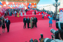 The red carpet of the MIFF 38 - opening of the Festival. Famous actors, artists, politicians and famous people in the world greet journalists on the red carpet Stock Images