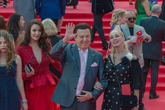 The red carpet of the MIFF 38 - opening of the Festival. Famous actors, artists, politicians and famous people in the world greet journalists on the red carpet Royalty Free Stock Photos