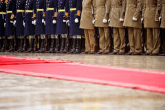 Red carpet military ceremony Royalty Free Stock Photography