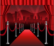 Red carpet movie premiere elegant event hollywood. Red carpet movie premiere elegant event with hollywood in background Royalty Free Stock Photo