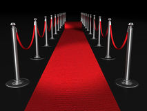 Red carpet night conept. With fence 3d illustration Royalty Free Stock Image